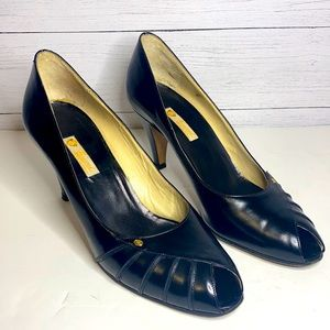 """GUCCI VINTAGE BLACK OPEN TOE LEATHER 3"""" HIGH HEEL PUMPS SHOES 39AA Retailed $895"""
